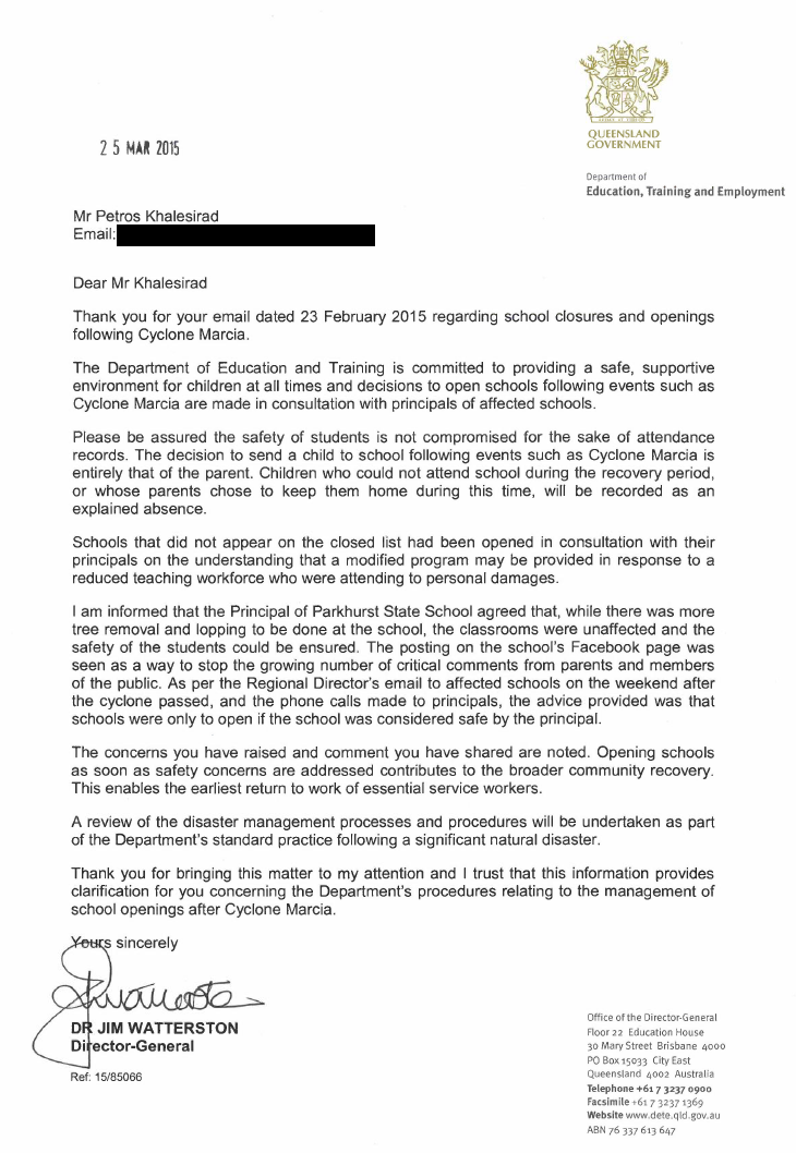 response from DG 25th March