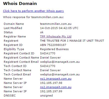 1 Whois information